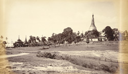General View of the Shwe Dagon Pagoda from South showing the entrance and steps leading to the Pagoda, [Rangoon].